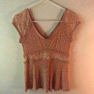 FP Free People Romantic Lace Soft Pink Top